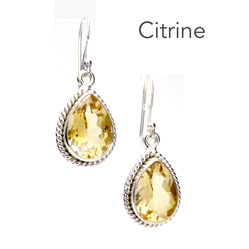 Citrine Earring | Faceted Teardrops | Also available in Citrine or Garnet | 925 Sterling Silver | Rope work detail | Genuine Gems from Crystal Heart Melbourne Australia since 1986