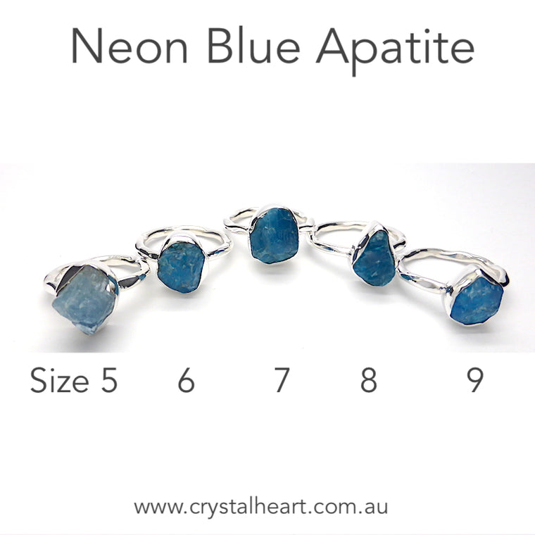 Apatite Raw Nugget Ring Neon Blue, 925 Silver kr