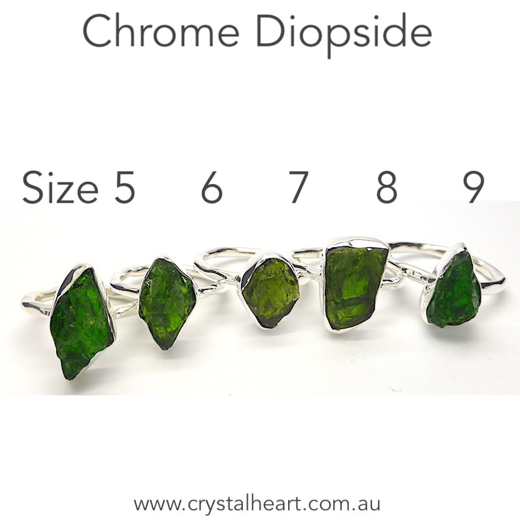 Chrome Diopside Raw Nugget Ring,  925 Silver kr
