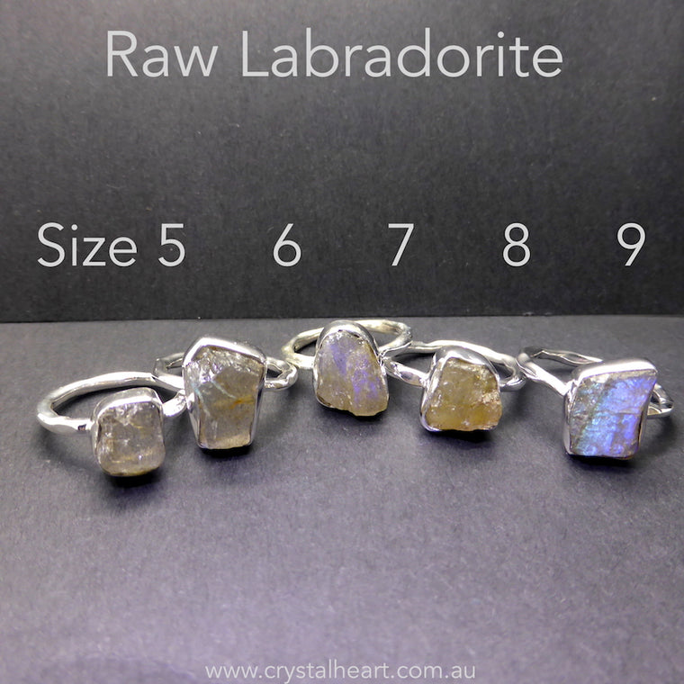 Labradorite Raw Nugget Ring, 925 Silver kr