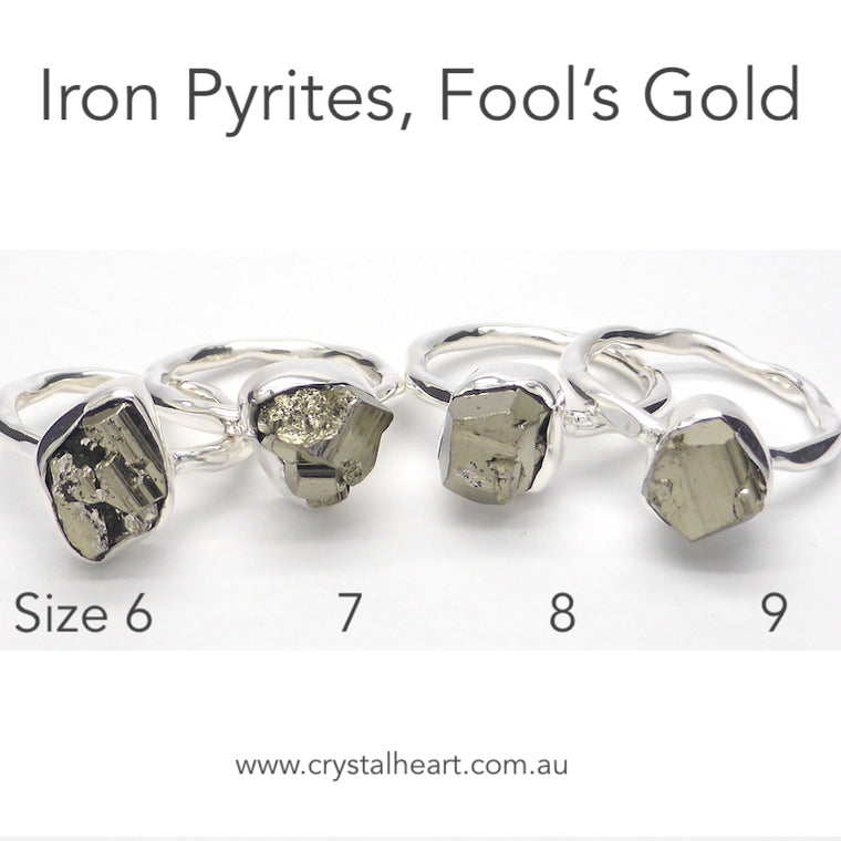 Pyrites ( Fools Gold )  Raw Nugget Ring, 925 Silver kr