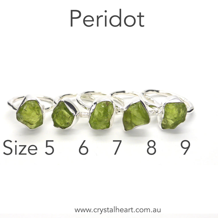 Peridot Raw Nugget Ring, 925 Silver kr