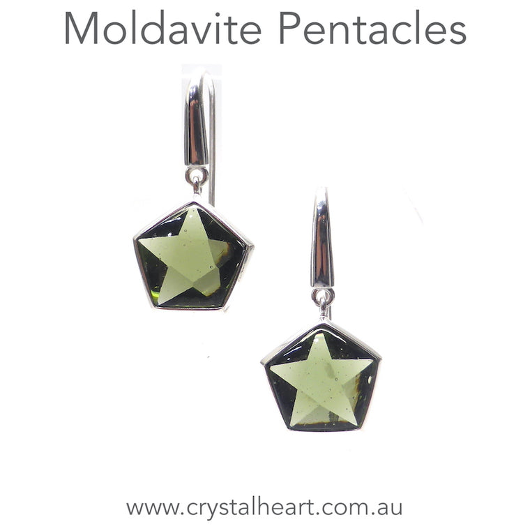 Moldavite Pentacle Earring, 925 Silver, pc1