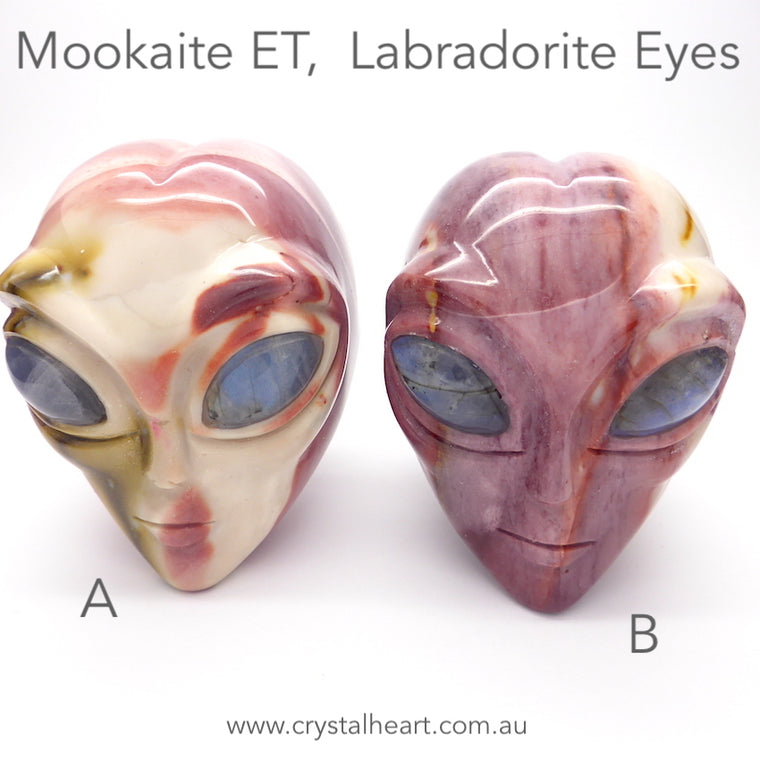 Mookaite ET Skull with Labradorite eyes