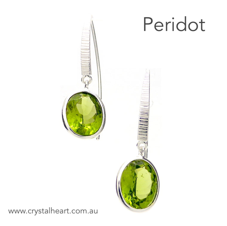 Peridot Earring,  Faceted Oval,  A Grade, 925 Silver p3