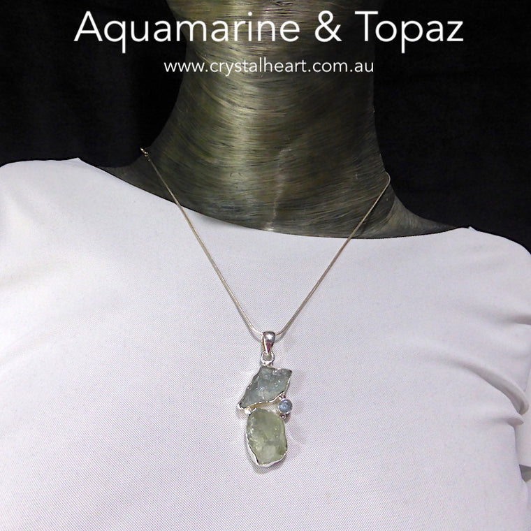 Aquamarine Pendant, Raw Nuggets, and Blue Topaz, 925 Silver ks1
