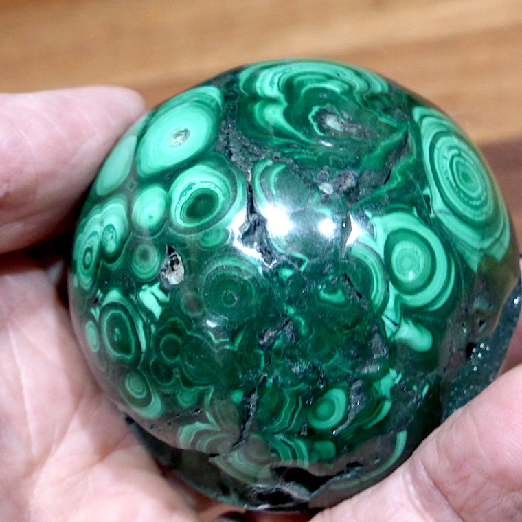 Malachite Crystal Sphere, 65 mm