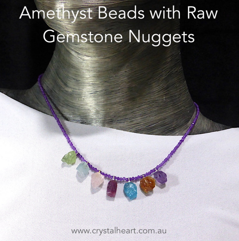 2.5 mm Faceted Beads Amethyst Necklace with Raw Gemstone Nuggets of Peridot, Aquamarine, Morganite, Ruby, Apatite, Citrine, Amethyst | Genuine gemstones from Crystal Heart Melbourne Australia since 1986