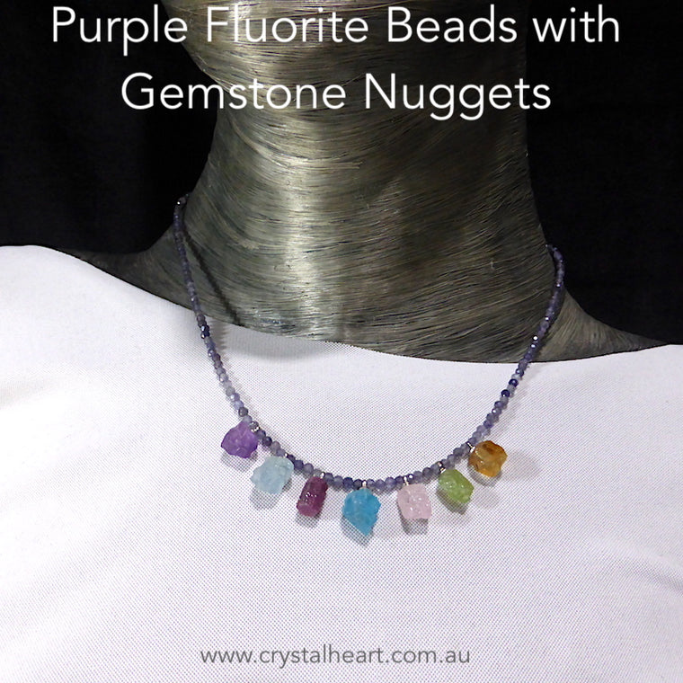 Gemstone Necklace ~ Purple Fluorite Beads & Gemstone Nuggets