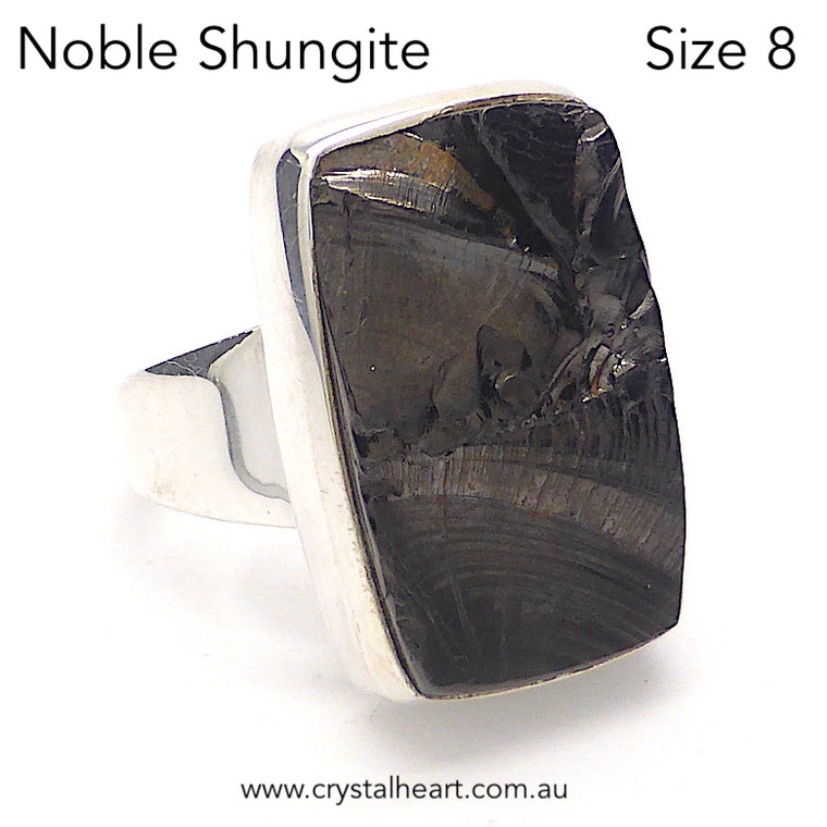 Noble Shungite Ring, Size 8, 925 Silver, g2