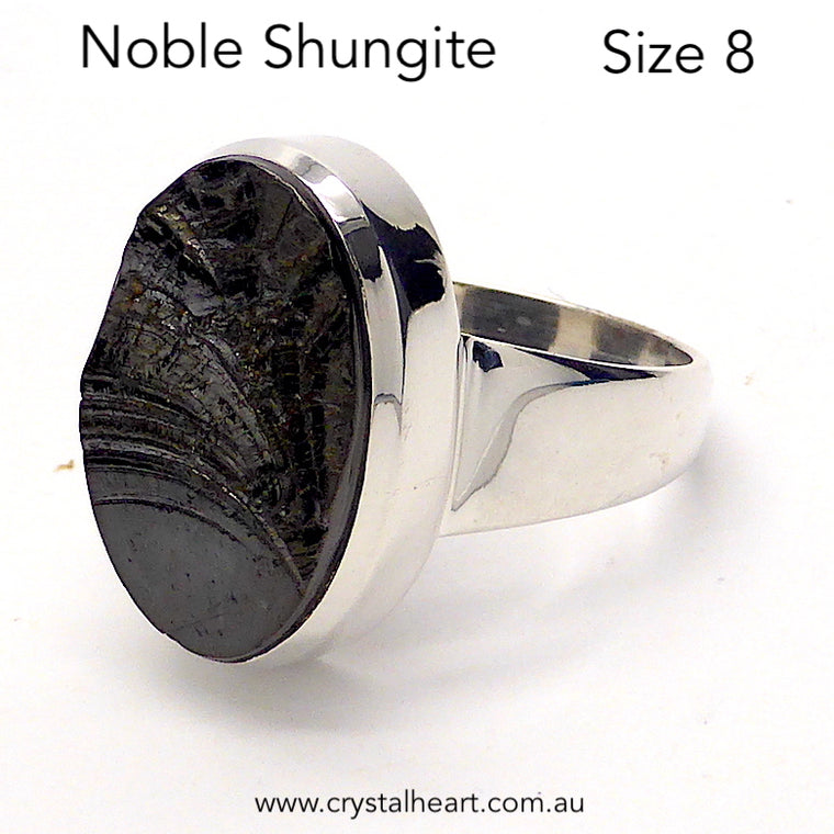 Noble Shungite Ring, Size 8, 925 Silver, g3