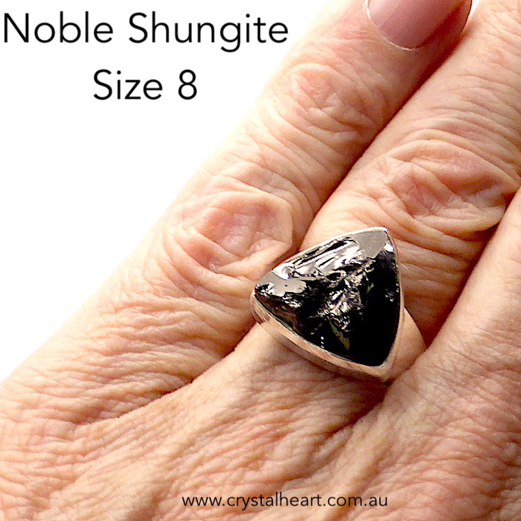 Noble Shungite Ring, Size 8, 925 Silver, g6