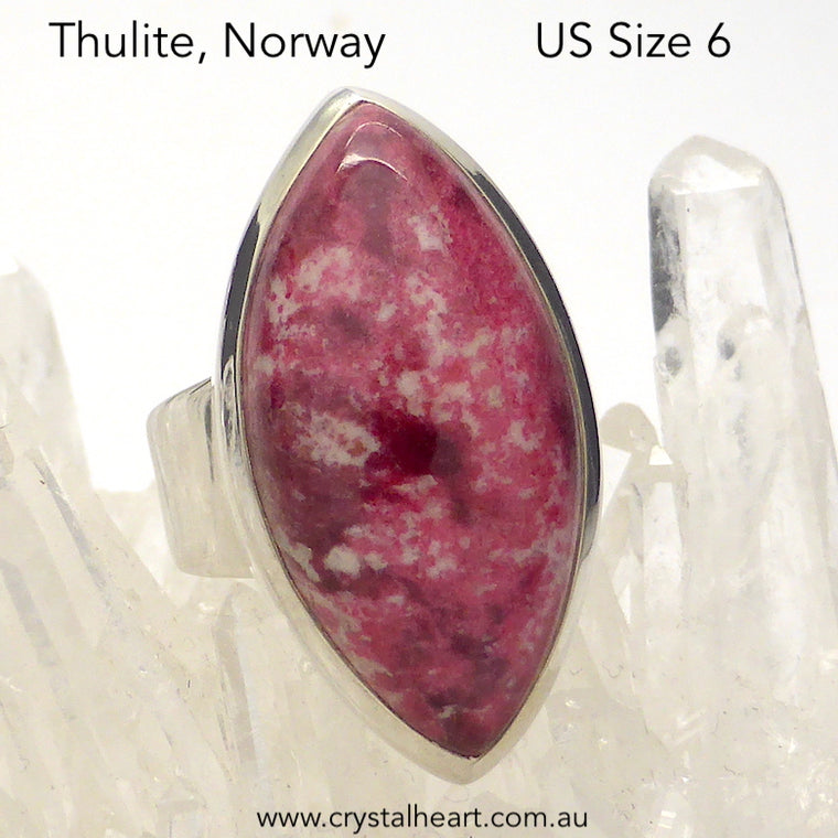 Thulite Ring, Size 6, 925 Silver, g1
