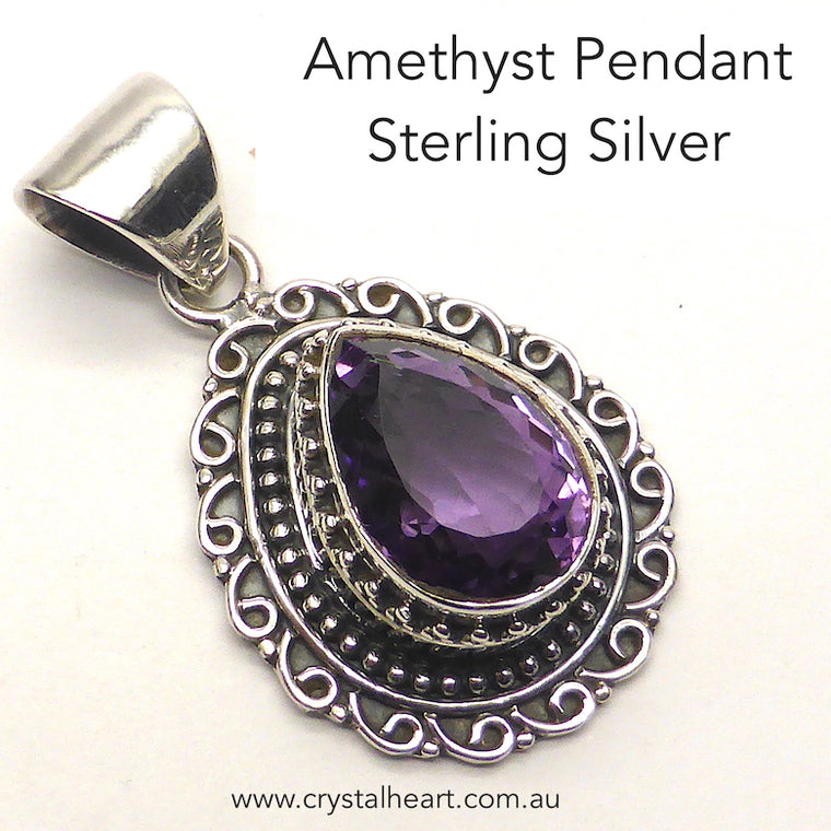 Amethyst Pendant, Faceted Teardrop, 925 Silver ks1