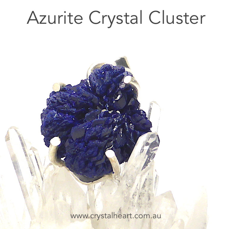 Azurite Pendant, Raw Crystal Cluster, 925 Silver g4