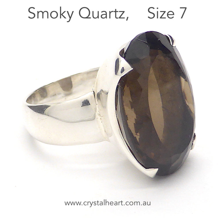 Smoky Quartz Ring, Faceted Oval, 925 Silver g3