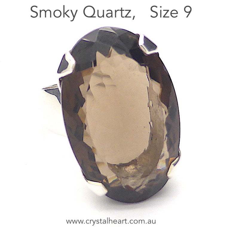 Smoky Quartz Ring, Faceted Oval, 925 Silver g4