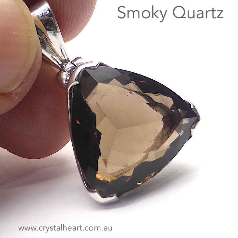 Smoky Citrine Quartz Pendant | Faceted Trillion | 925 Sterling Silver | Mindfulness in Body Consciousness | Sagittarius Capricorn stone | Genuine Gems from Crystal Heart Melbourne since 1986 | AKA ~ Smokey, Cairngorm, Morion, Indian Topaz Crystal