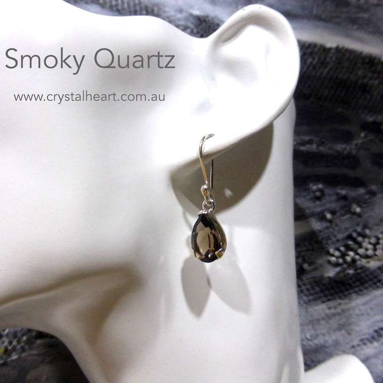 Smoky Quartz Earrings, Faceted Teardrops, 925 Silver g1