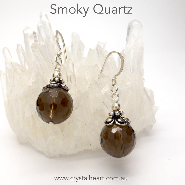 Smoky Quartz Earrings, Faceted Bead, 925 Silver
