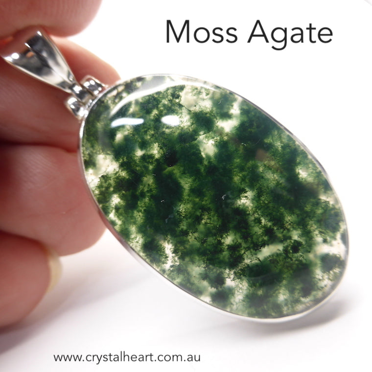 Moss Agate Pendant, Oval Cabochon, 925 Silver g5
