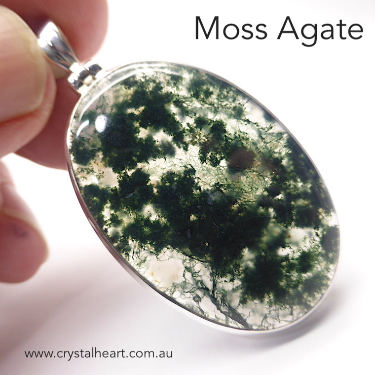 Moss Agate Pendant, Oval Cabochon, 925 Silver g6