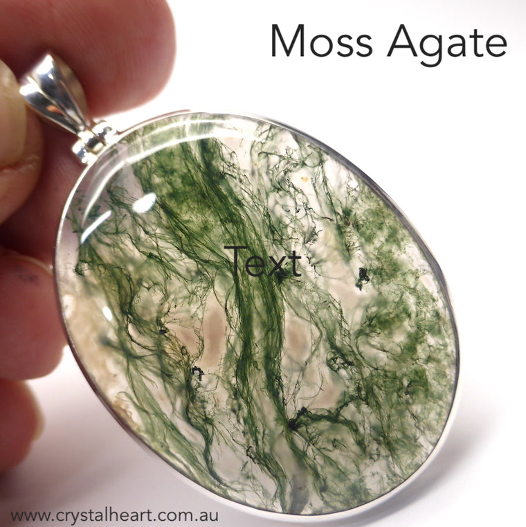 Moss Agate Pendant, Oval Cabochon, 925 Silver g7