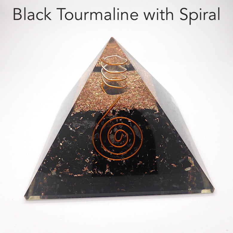 Orgonite Pyramid with Black Tourmaline | Clear Crystal Spiral conduit | Tree of Life or Spiral Motif | Generate Orgone Energy | Empower & Unblock | Clear Negativity | Protection | Crystal Heart Melbourne Australia since 1986