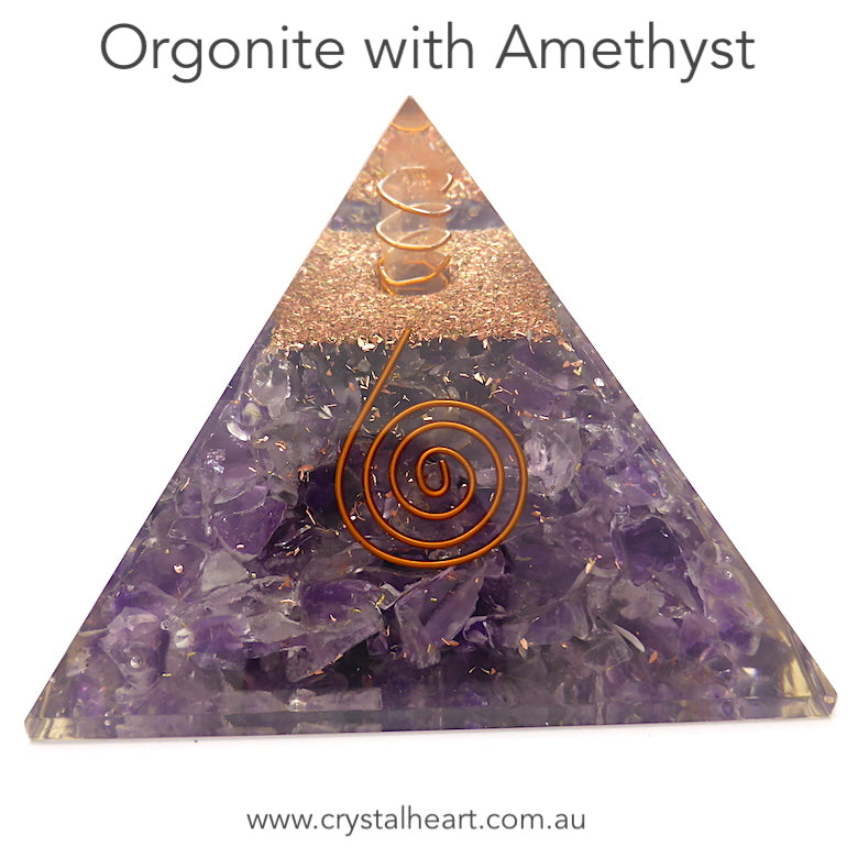 Orgonite Pyramid with genuine Amethyst Chips | Clear Crystal Point conduit in Copper Spiral | Accumulate Orgone Energy | Perfect Purple Amethyst | Harmony and Purifying Energies | Meditation | Crystal Heart Melbourne Australia since 1986