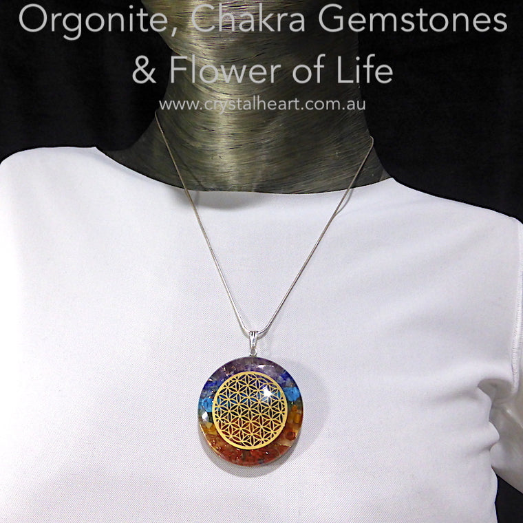 Orgonite Pendant, Chakra gemstones & Flower of Life