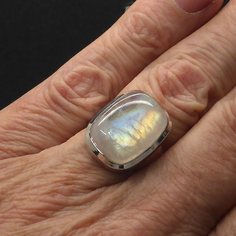 Moonstone Ring, Oblong Cab, 925 Silver, g