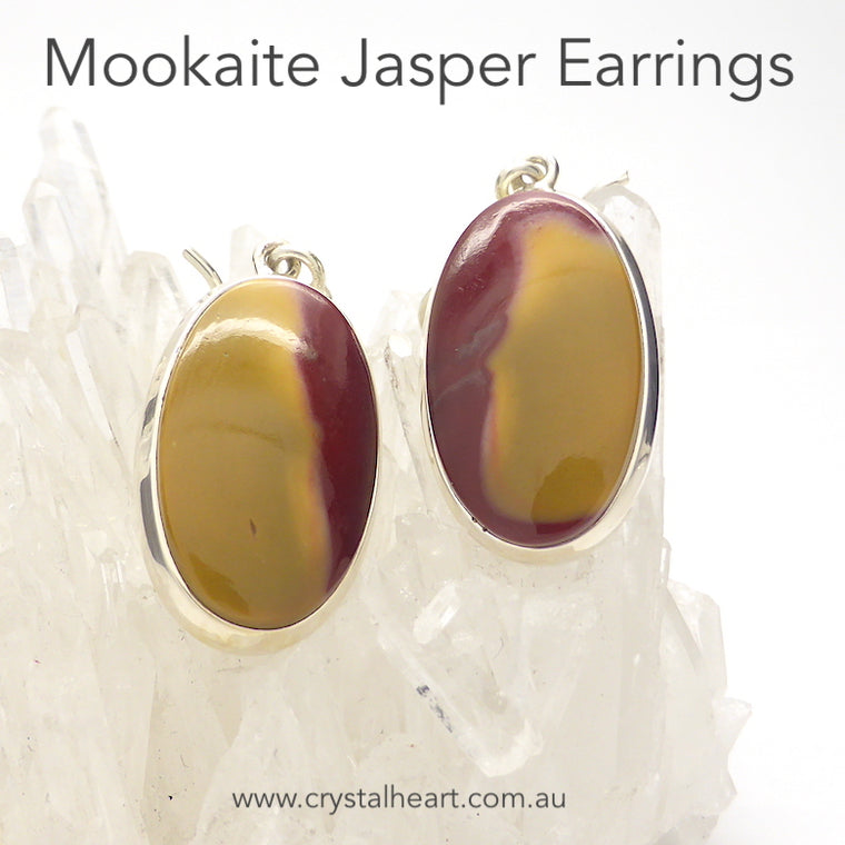 Mookaite Earrings, Oval Cabochon, 925 Silver, g1