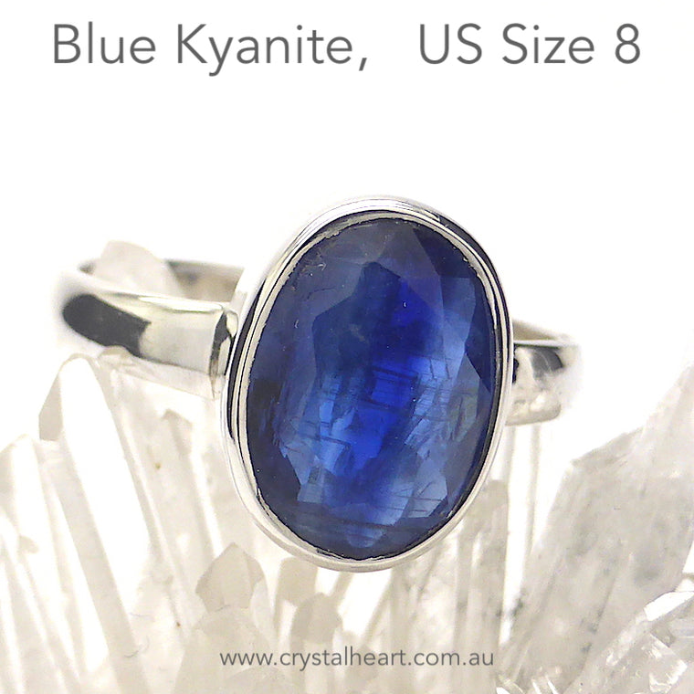 Blue Kyanite Ring, Faceted Oval, 925 Silver, g3
