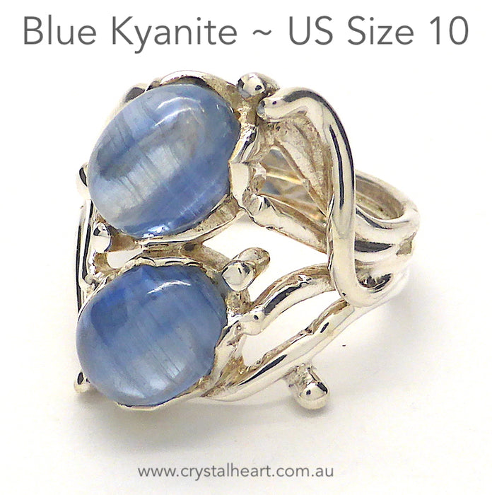 Blue Kyanite Ring | 2 Oval Cabochons | 925 Sterling Silver | Fancy Design | US Size 10 | AUS UK Size T 1/2 | Uplift and protect the Heart | Taurus Libra Aries Gemstone | Genuine Gems from Crystal Heart Melbourne Australia since 1986