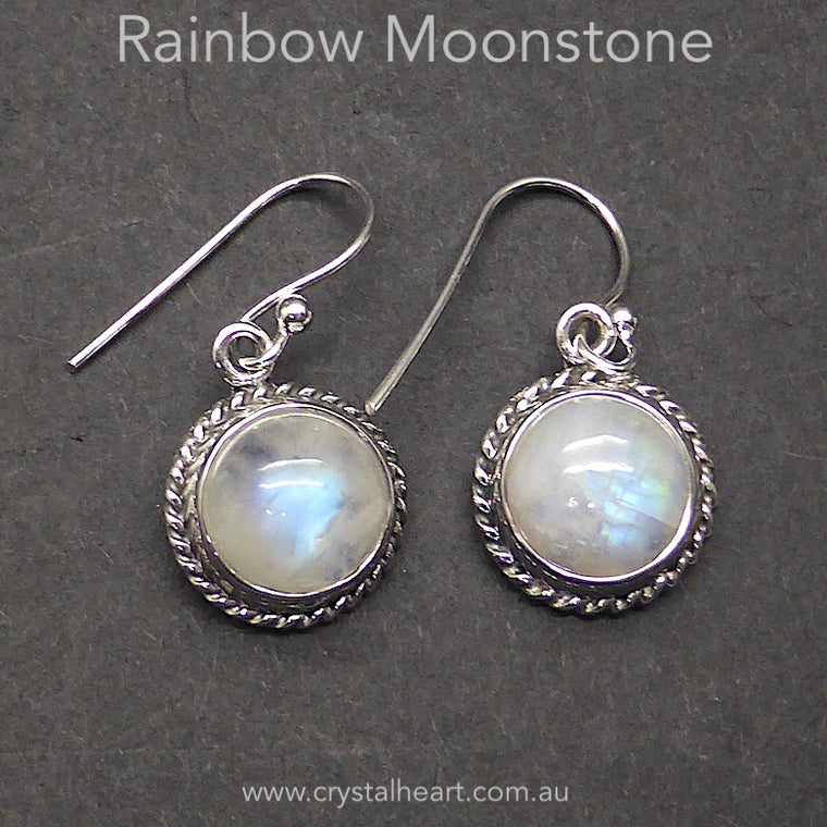 Moonstone Earring, Round Cabochon, 925 Silver, k2