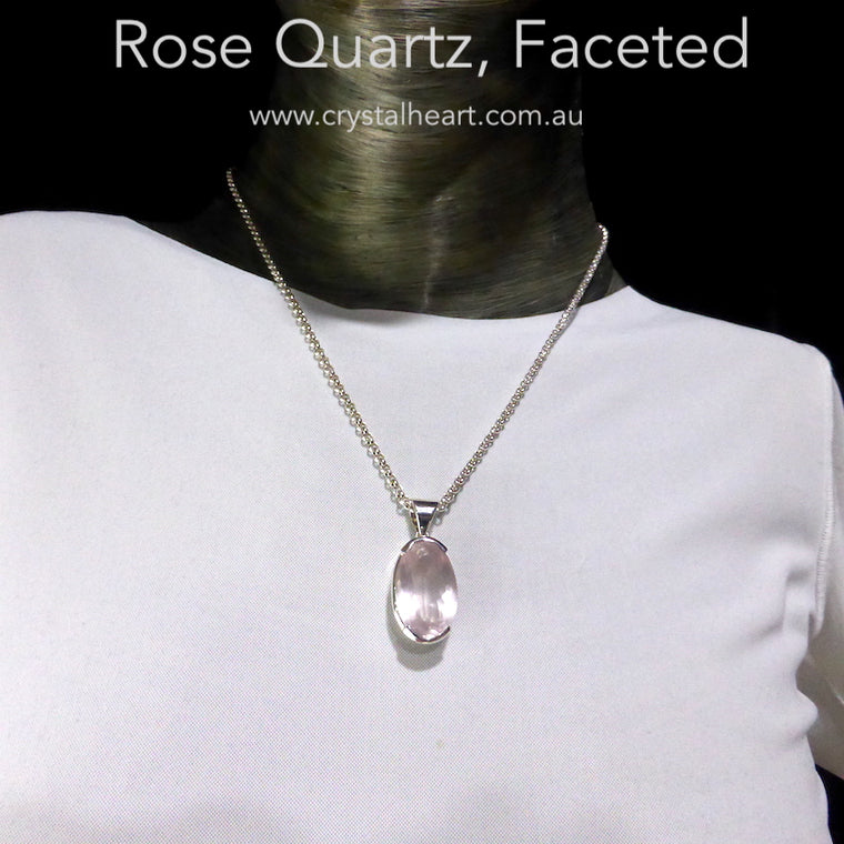 Rose Quartz Pendant, Faceted Oval, 925 Silver sr