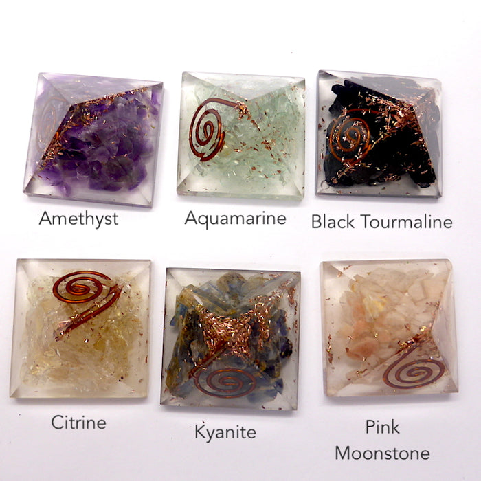 Orgone  Mini Pyramid with Added Gemstones | Copper spiral | Amethyst OR Aquamarine OR Black Tourmaline OR Citrine OR Lapis OR Pink Moonstone OR Peridot |  Crystal Heart Melbourne Australia since 1986