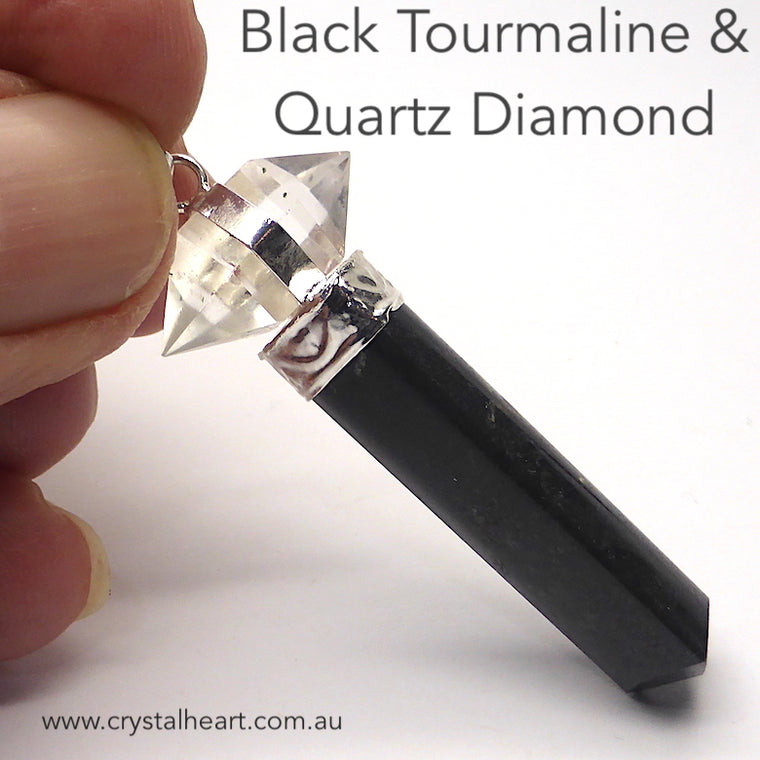 Black Tourmaline Pendant with Quartz Diamond