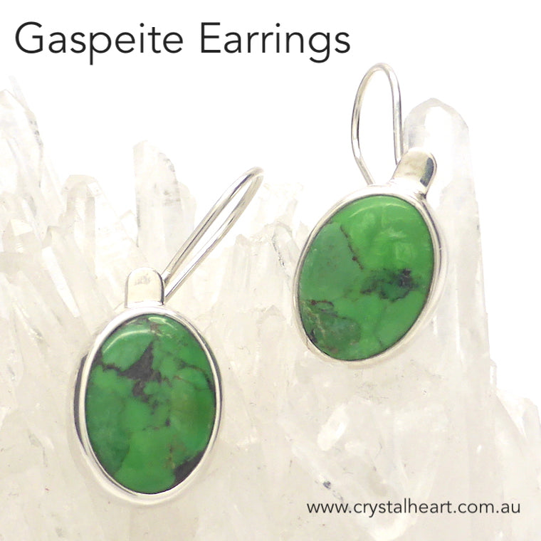 Gaspeite Earrings, Oval Cabochons, 925 Silver, k2