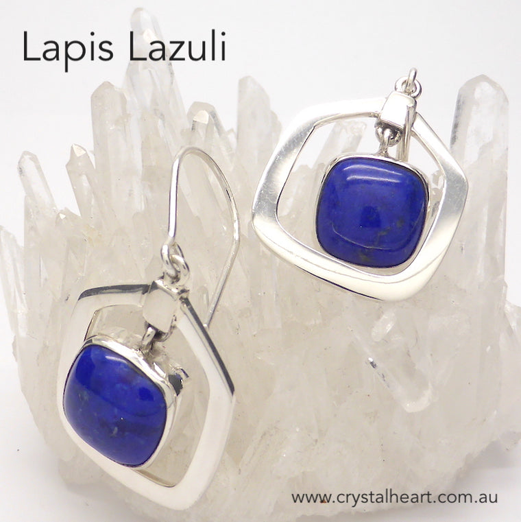 Lapis Lazuli Earrings, Cabochon Square, 925 Silver, kt2