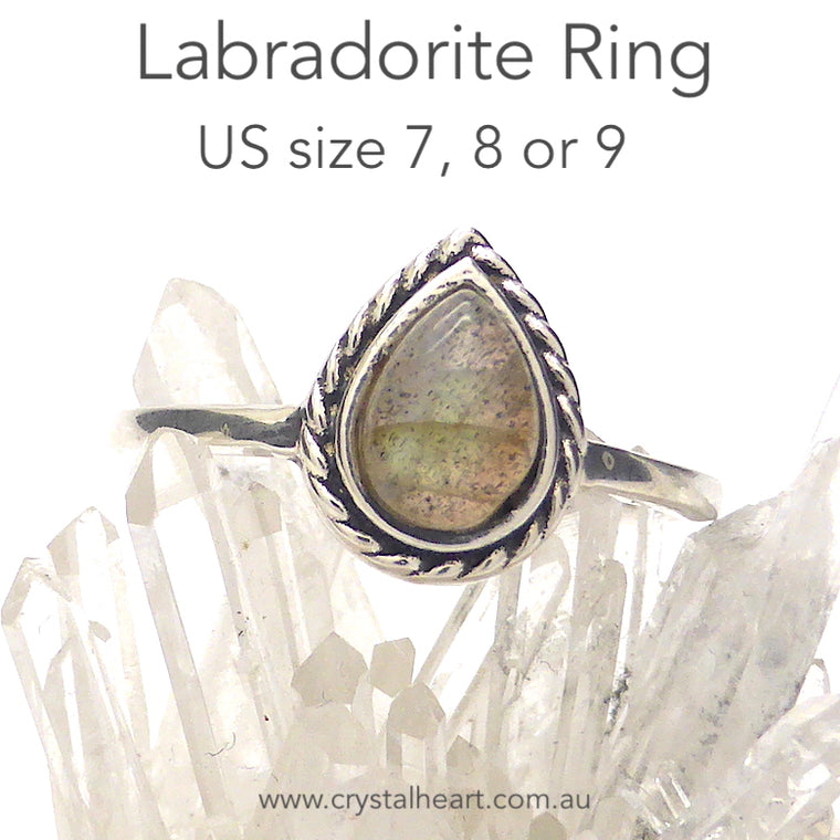 Labradorite Ring, Small Teardrop, 925 Silver, k