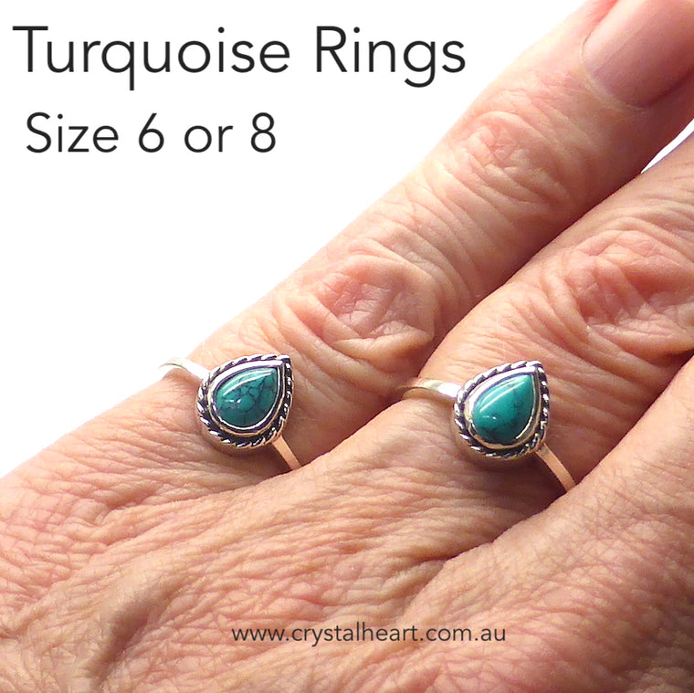 Turquoise Ring, Small Teardrop, 925 Silver, k