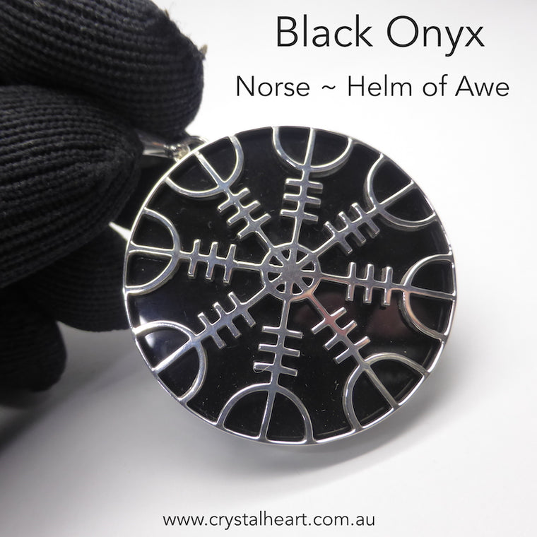 Black Onyx Pendant, Helm of Awe, 925 Silver, KT
