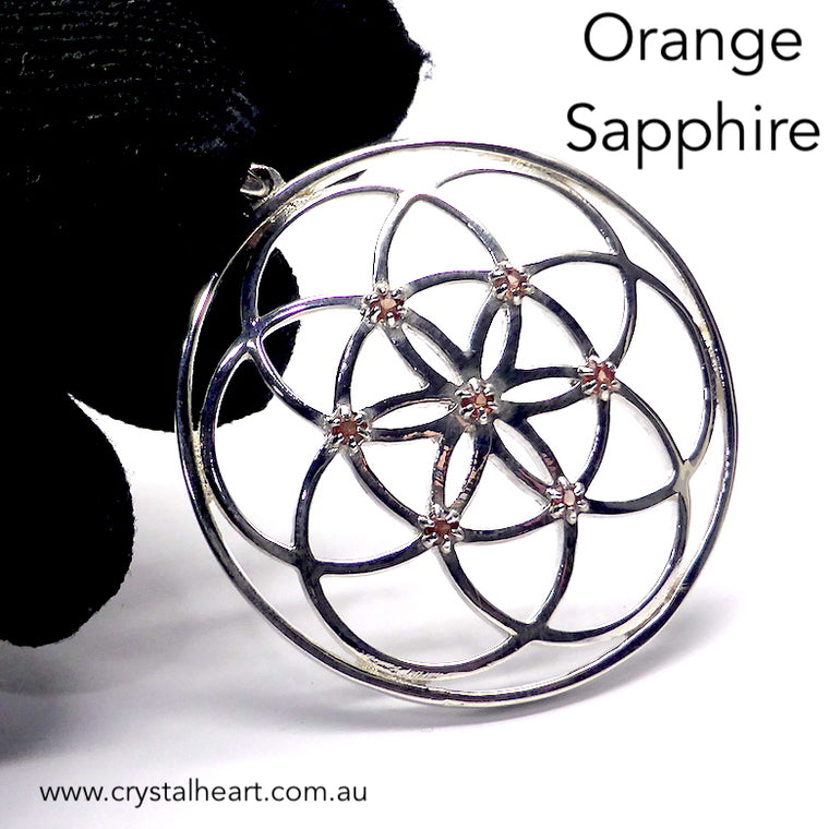 Seed of Life Pendant with Orange Sapphires, 925 Silver