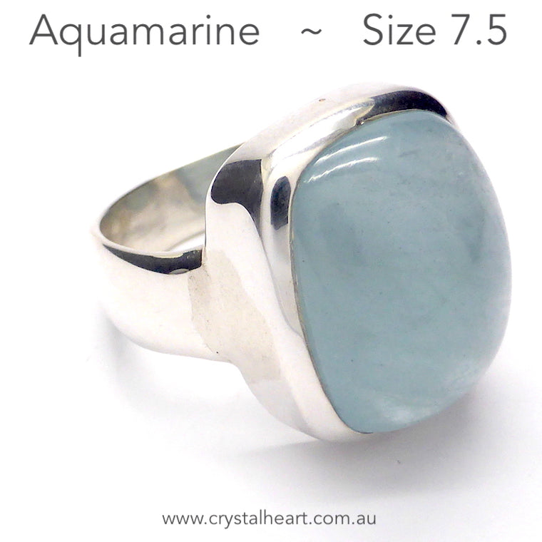 Aquamarine Ring Cabochon Oblong, 925 Silver, pc6