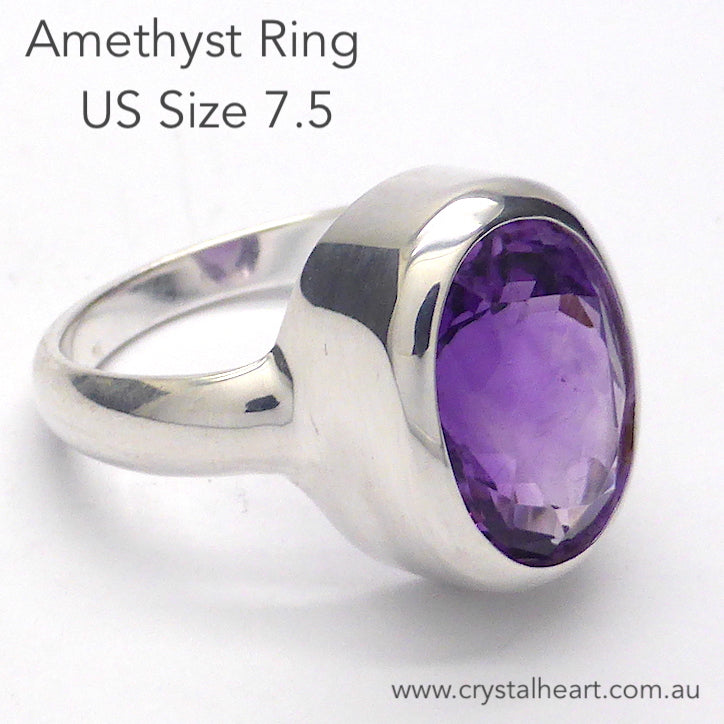 Amethyst Ring, Faceted Oval, 925 Silver p1