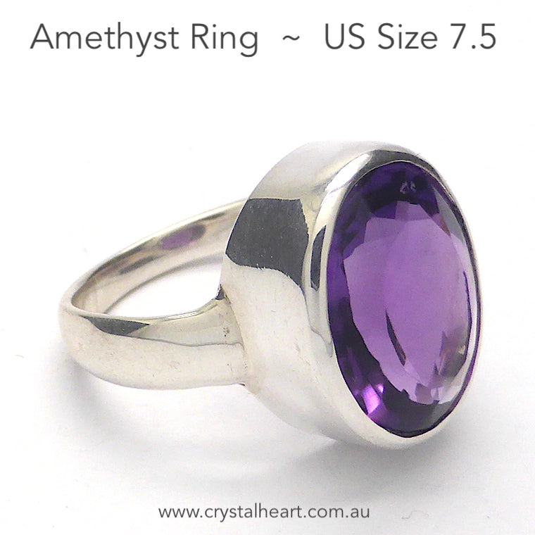 Amethyst Ring, Faceted Oval, 925 Silver p2
