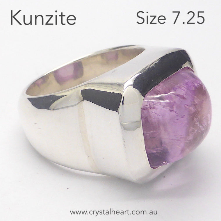 Kunzite Ring, Oblong Cabochon, 925 Silver pc3