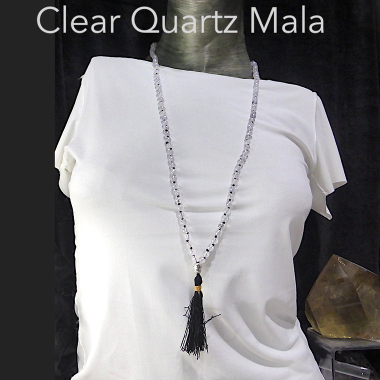 Mala Necklace with Clear Quartz Beads