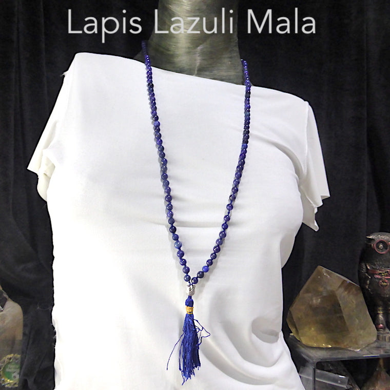 Mala Necklace with Lapis Lazuli Beads